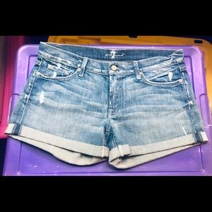 7 For all mankind lightly distressed denim shorts